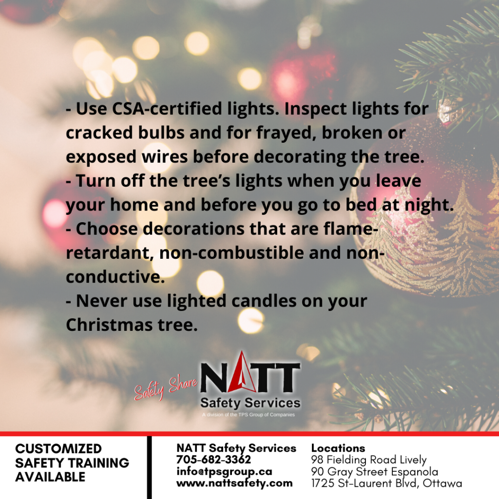 holiday safety tips from NATT Safety Services in Sudbury